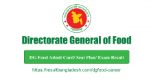 DG Food Admit Card Download